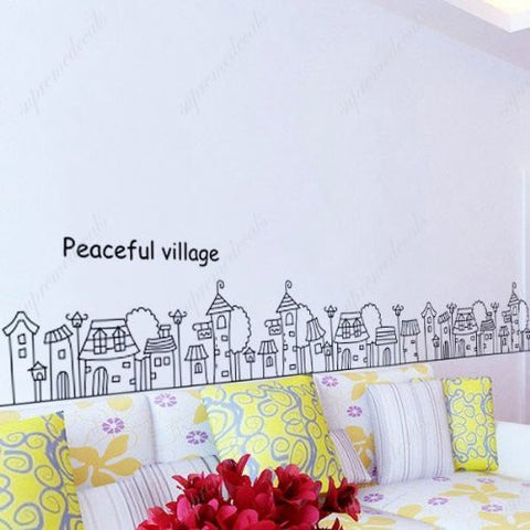 Custom PopDecals - Peaceful village - Beautiful Tree Wall Decals for Kids Rooms Teen Girls Boys Wallpaper Murals Sticker Wall Stickers Nursery Decor Nursery Decals