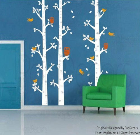 Birch Trees and Owl-Wall Decal - PopDecors,Baby Product, Pop Decors, PopDecors