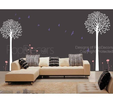 PopDecors - Two Big Cool Trees - Custom Beautiful Tree Wall Decals for Kids Rooms Teen Girls Boys Wallpaper Murals Sticker Wall Stickers Nursery Decor Nursery Decals