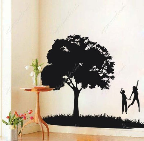 Custom PopDecals - Dancing under a tree - Beautiful Tree Wall Decals for Kids Rooms Teen Girls Boys Wallpaper Murals Sticker Wall Stickers Nursery Decor Nursery Decals - PopDecors,Home, PopDecals, PopDecors