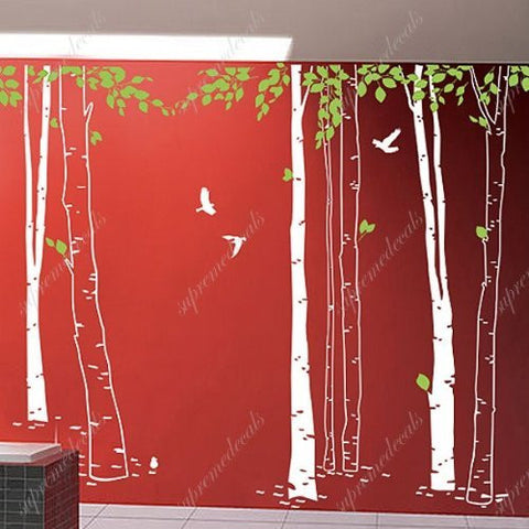 Custom PopDecals - Big Tree forest with flying birds 2 - Beautiful Tree Wall Decals for Kids Rooms Teen Girls Boys Wallpaper Murals Sticker Wall Stickers Nursery Decor Nursery Decals - PopDecors,Home, PopDecals, PopDecors