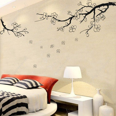 Custom PopDecals - Plum flower in winter - Beautiful Tree Wall Decals for Kids Rooms Teen Girls Boys Wallpaper Murals Sticker Wall Stickers Nursery Decor Nursery Decals - PopDecors,Home, PopDecals, PopDecors