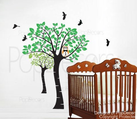 Owl and Trees-Wall Decal - PopDecors,Baby Product, Pop Decors, PopDecors