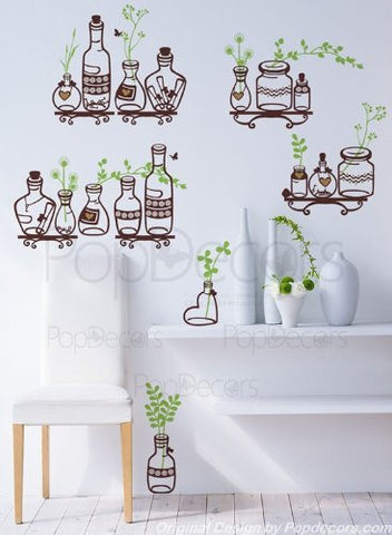 PopDecors Wall Decals & Stickers - Plants in the Bottle - Free Squeegee and color change - Kitchen Wall Decals Vinyl Wall Arts Custom Wall Stickers Plants Decal