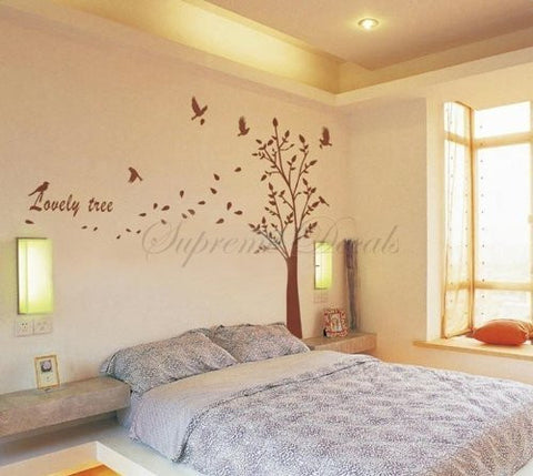 Custom PopDecals - Lovely tree - 62.5 in tall - Beautiful Tree Wall Decals for Kids Rooms Teen Girls Boys Wallpaper Murals Sticker Wall Stickers Nursery Decor Nursery Decals