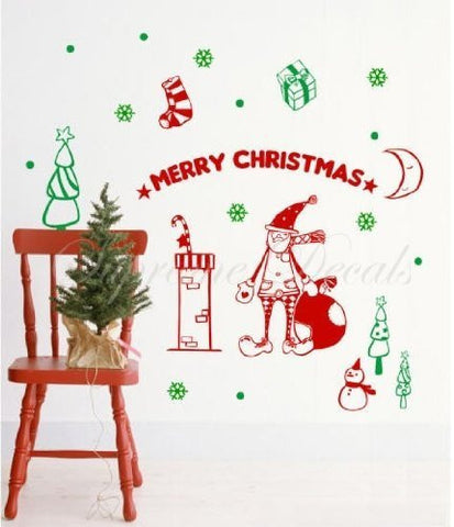 Custom PopDecals - Christmas Decals - Christmas Santa - Beautiful Tree Wall Decals for Kids Rooms Teen Girls Boys Wallpaper Murals Sticker Wall Stickers Nursery Decor Nursery Decals - PopDecors,Home, PopDecals, PopDecors