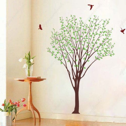 Custom PopDecals - My green tree with flying birds - Beautiful Tree Wall Decals for Kids Rooms Teen Girls Boys Wallpaper Murals Sticker Wall Stickers Nursery Decor Nursery Decals - PopDecors,Home, PopDecals, PopDecors