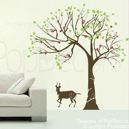 Big Tree and Antelope -Wall Decal - PopDecors,Home, Pop Decors, PopDecors