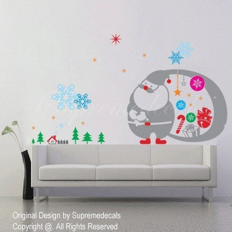 Custom PopDecals - Christmas Decals - Happy Christmas - Beautiful Tree Wall Decals for Kids Rooms Teen Girls Boys Wallpaper Murals Sticker Wall Stickers Nursery Decor Nursery Decals - PopDecors,Home, PopDecals, PopDecors