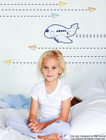 PopDecors Wall Decals & Stickers - Airplanes - Free Squegee - Playroom Wall Decors Office Wall Stickes Vinyl Removable