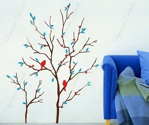 Custom PopDecals - Love Nest(40 in tall) - Beautiful Tree Wall Decals for Kids Rooms Teen Girls Boys Wallpaper Murals Sticker Wall Stickers Nursery Decor Nursery Decals