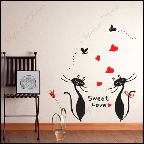 Custom PopDecals - Sweet love of cats - Beautiful Tree Wall Decals for Kids Rooms Teen Girls Boys Wallpaper Murals Sticker Wall Stickers Nursery Decor Nursery Decals