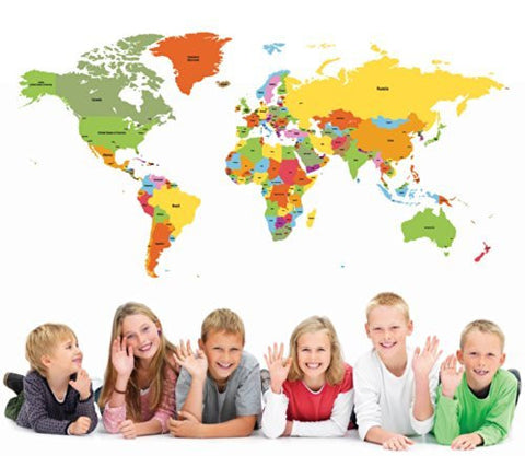 Pop Decors Wall Sticker, Educational World Map
