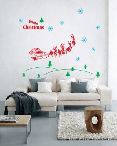 Custom PopDecals - Christmas Decals - Santa in the forest - Beautiful Tree Wall Decals for Kids Rooms Teen Girls Boys Wallpaper Murals Sticker Wall Stickers Nursery Decor Nursery Decals - PopDecors,Home, PopDecals, PopDecors
