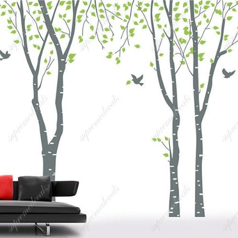 Custom PopDecals - Birch trees in the nature garden 2 - Beautiful Tree Wall Decals for Kids Rooms Teen Girls Boys Wallpaper Murals Sticker Wall Stickers Nursery Decor Nursery Decals