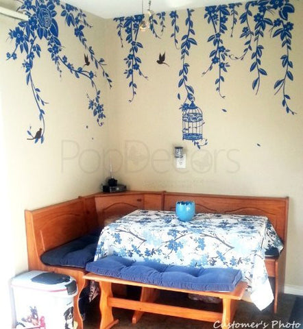 Elegant Leaves, Bird Cage with Flying Birds-Wall Decal - PopDecors,Baby Product, Pop Decors, PopDecors