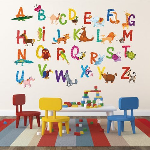 Pop Decors Repositionable Wall Sticker, 26 Alphabet Animals - PopDecors,Baby Product, Pop Decors, PopDecors