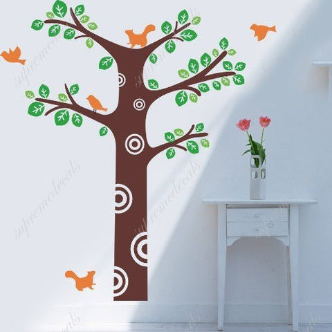 Custom PopDecals - Squirrels playing in spring - Beautiful Tree Wall Decals for Kids Rooms Teen Girls Boys Wallpaper Murals Sticker Wall Stickers Nursery Decor Nursery Decals