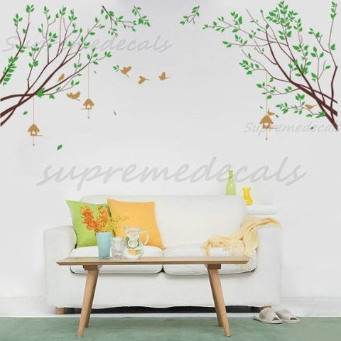 Custom PopDecals - Spring Branch with Flying Birds - Beautiful Tree Wall Decals for Kids Rooms Teen Girls Boys Wallpaper Murals Sticker Wall Stickers Nursery Decor Nursery Decals - PopDecors,Home, PopDecals, PopDecors