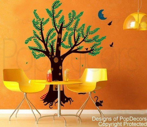 PopDecors - Girl plays swing (83inch H) - Custom Beautiful Tree Wall Decals for Kids Rooms Teen Girls Boys Wallpaper Murals Sticker Wall Stickers Nursery Decor Nursery Decals