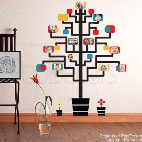 PopDecors - Memory Tree (Photo Tree) - 65in H - Custom Beautiful Tree Wall Decals for Kids Rooms Teen Girls Boys Wallpaper Murals Sticker Wall Stickers Nursery Decor Nursery Decals