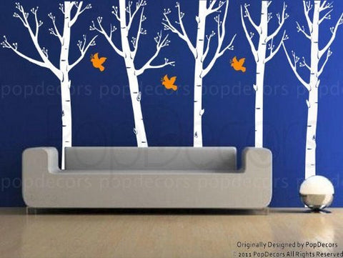 Set of Five Super Big Trees with Flying Birds-Wall Decal