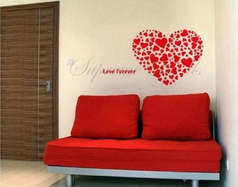 Custom Color PopDecals - Wall decal - Big Red Heart - Wall Art Home Decors Murals Removable Vinyl Decals Paper Stickers