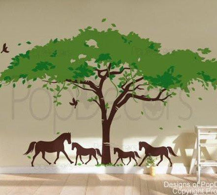 African Tree and Horses-Wall Decal - PopDecors,Baby Product, Pop Decors, PopDecors