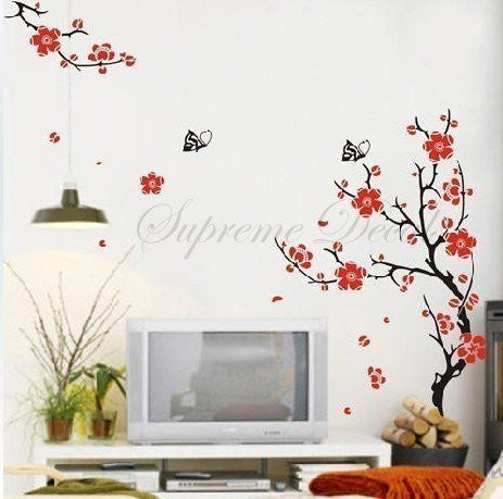 Custom Color PopDecals - On sale - Plum Blossom TV background - 59inch tall - Wall Art Home Decors Murals Removable Vinyl Decals Paper Stickers