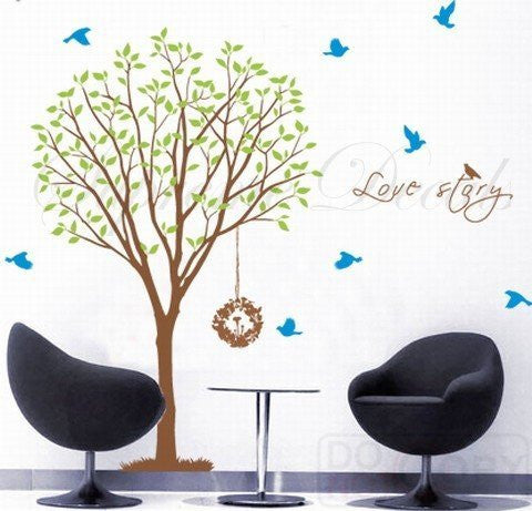 Custom PopDecals - Love Story Tree declas - 71 in h living room - Beautiful Tree Wall Decals for Kids Rooms Teen Girls Boys Wallpaper Murals Sticker Wall Stickers Nursery Decor Nursery Decals - PopDecors,Home, PopDecals, PopDecors