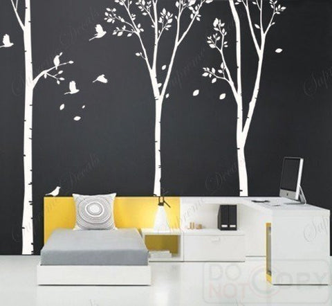 Custom PopDecals - on sale - Three Big Birch Trees - Beautiful Tree Wall Decals for Kids Rooms Teen Girls Boys Wallpaper Murals Sticker Wall Stickers Nursery Decor Nursery Decals