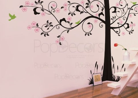"PopDecors Wall Decals & Stickers - Super Elegant Flower Tree -102""H 166""W - Custom Beautiful Tree Wall Decals for Kids Rooms Teen Girls Boys Wallpaper Murals Sticker Wall Stickers Nursery Decor Nursery Decals"