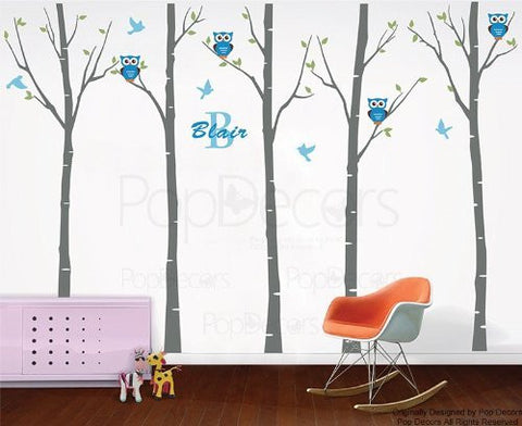 PopDecors Wall Decals & Stickers - Five Birch Trees with Owls - Free Squeegee and Color change -Baby Kids Room