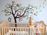 "Nursery Tree with Colorful Parrots(90"" H)-Wall Decal - PopDecors,Baby Product, Pop Decors, PopDecors"