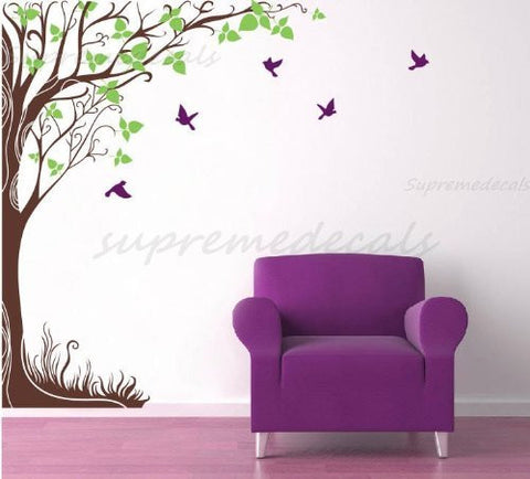 "Custom Color PopDecals - Fantasy big tree(102""H) vinyl art wall decals home murals"