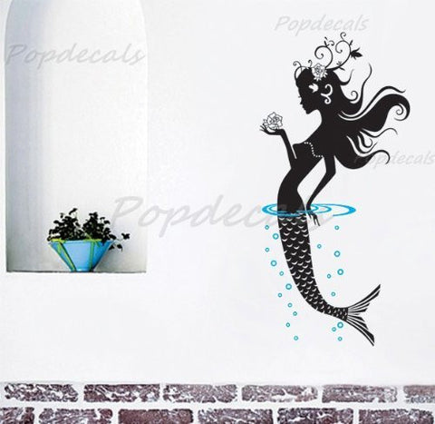 Popdecals - Mermaid - 47 in Tall - Nursery Wall Decals Tree Vinyl Wall Art Wall Decor Sticker Wall Vinyl Stickers Pop Baby Gift Idea - PopDecors,Home, PopDecals, PopDecors