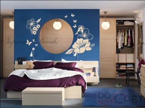 Custom PopDecals - Gorgeous flowers - Beautiful Tree Wall Decals for Kids Rooms Teen Girls Boys Wallpaper Murals Sticker Wall Stickers Nursery Decor Nursery Decals