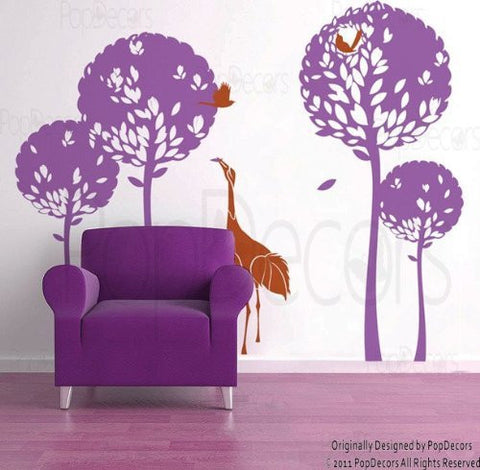 Playing Crane in the Tree Garden-Wall Decal - PopDecors,Baby Product, Pop Decors, PopDecors