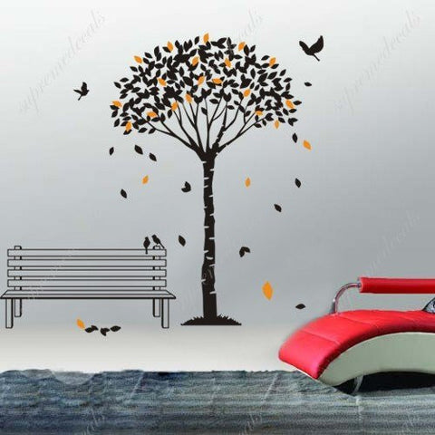 Custom PopDecals - Tree and falling leaves - Beautiful Tree Wall Decals for Kids Rooms Teen Girls Boys Wallpaper Murals Sticker Wall Stickers Nursery Decor Nursery Decals - PopDecors,Home, PopDecals, PopDecors