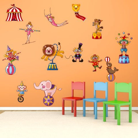 PopDecors Removable Children Playroom Fabric Printed Wall Stickers - Circus Time - Funny Animals Wall Decors Lion Elephant Horse Clown Stickers