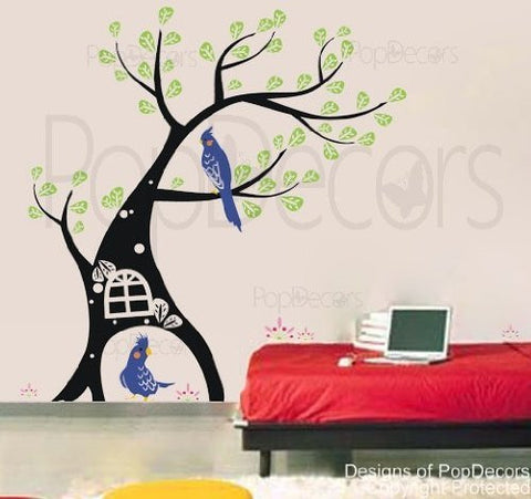 Parrot and Tree-Wall Decal - PopDecors,Baby Product, Pop Decors, PopDecors