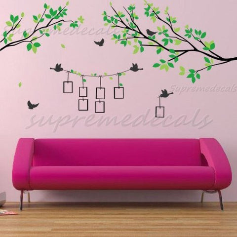 Custom PopDecals - Tree Branch with Photo Frame - Beautiful Tree Wall Decals for Kids Rooms Teen Girls Boys Wallpaper Murals Sticker Wall Stickers Nursery Decor Nursery Decals - PopDecors,Home, PopDecals, PopDecors