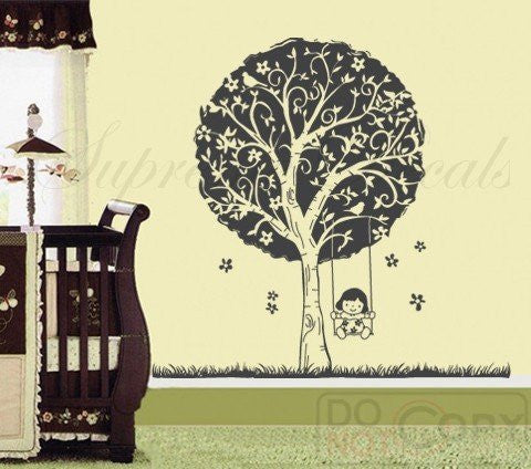 Custom PopDecals - Girl plays swing - 65 in - Beautiful Tree Wall Decals for Kids Rooms Teen Girls Boys Wallpaper Murals Sticker Wall Stickers Nursery Decor Nursery Decals