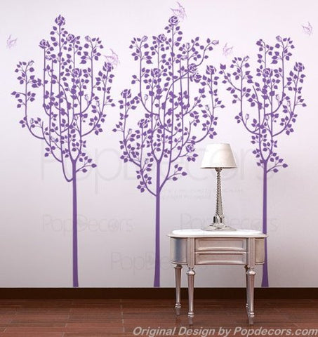 PopDecors Wall Decals & Stickers - Flower Trees and Butterflies - Free Squeegee and color change - Floral Tree Decals Flower Tree Sticker Flying Butterflies Decal