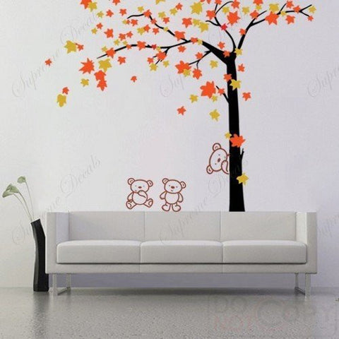 Custom PopDecals - Autumn Tree and Bears - 71 in - Beautiful Tree Wall Decals for Kids Rooms Teen Girls Boys Wallpaper Murals Sticker Wall Stickers Nursery Decor Nursery Decals - PopDecors,Baby Product, PopDecals, PopDecors