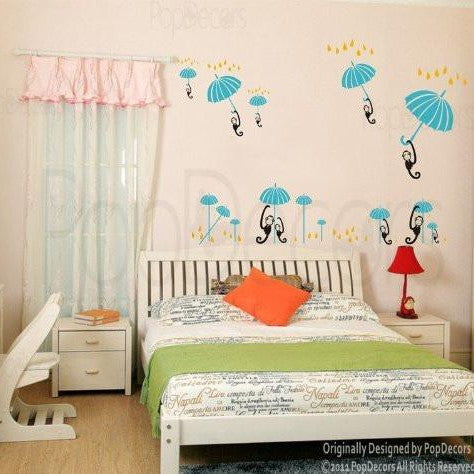 PopDecors - Monkeys' Travel - Custom Beautiful Tree Wall Decals for Kids Rooms Teen Girls Boys Wallpaper Murals Sticker Wall Stickers Nursery Decor Nursery Decals - PopDecors,Baby Product, Pop Decors, PopDecors