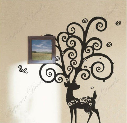Custom Color PopDecals - Big deer - removable vinyl art wall decals murals home decor - PopDecors,Baby Product, PopDecals, PopDecors