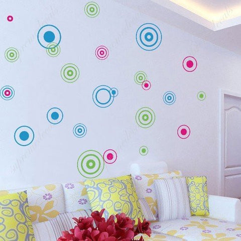 Custom PopDecals   24 Ful Circles   Beautiful Tree Wall Decals For Kids  Rooms Teen Girls Boys Wallpaper Murals Sticker Wall Stickers Nursery Decor  Nursery ...