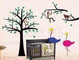 Monkeys,Ostrich and Trees-Wall Decal - PopDecors,Baby Product, Pop Decors, PopDecors