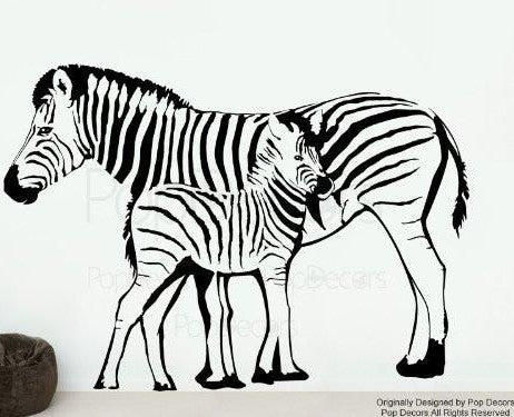 PopDecors Wall Decals & Stickers - Zebra Mother and Child - Living Room Wall Decal Office Wallpaper Zebra Murals